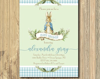 Peter Rabbit Invitation baby shower printable/Digital File/Vintage Peter Rabbit, boy shower, beatrix potter, bunny/Wording can be changed