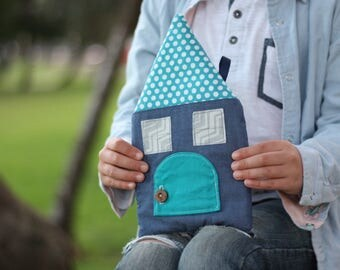 Boys tooth fairy pillow house, childhood keepsake, or room decoration: with two secret pockets, a door and a wooden button latch