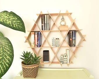 Wood Bookshelf, Floating Shelves, Bookcase, Hanging Bookshelf, Wood Book Shelf, Wall Shelf, Hexagon Shelves, Living Room Storage