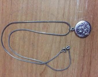 Vintage Lovely Sterling Locket Necklace SIGNED