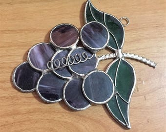 Hand Made Grape Cluster Stained Glass Ornament Window Hanging