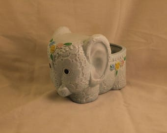 Vintage Elephant Planter Light Blue Glazed Ceramic  Napco 1827 Japan Gift Nursery Baby Flowers!
