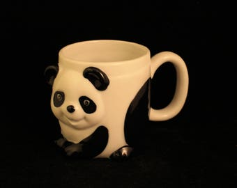 Vintage Porcelain Panda Bear Shaped Mug Cup Black and White