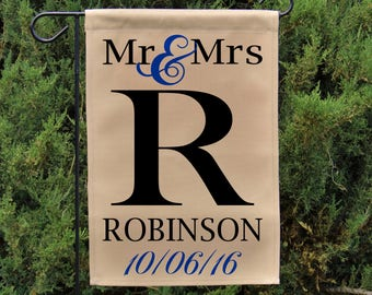 Ready To Ship Mongram Mr U0026 Mrs Wedding Flag, Personalized Garden Flag Or  Wall Hanging