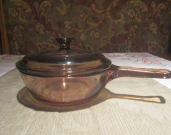 Vision Corning .5 liter Saucepan Vintage 1980's Lidded Pan Stovetop Cooking Kitchen Cookware - Kit0641