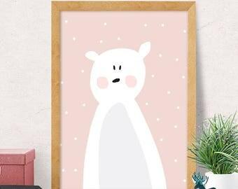 Bear print, nursery wall art, modern nursery decor, cute print, pink bear print, nursery wall decor, kids room decor, minimal, cute nursery