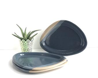 Vintage Mount St Helens Ash Glaze Plates, Set of 3 Mount Saint Helens Blue Ash Glazed Plates