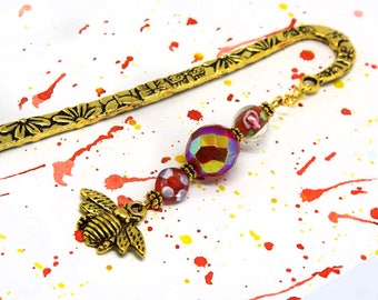 Golden floral bookmark - Bee charm bookmark - Red beaded bookmark - Large metal bookmark - Nature inspired bookmark with flowers
