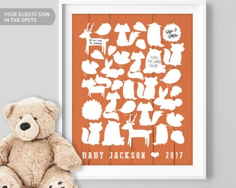 Orange Baby Shower Guest Book Alternative / Woodland Animal Guest Book, Fox, Bear, Bunny / Baby Shower ▷ Canvas, Board, Paper {or} Printable