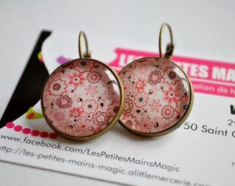 earring vintage retro flower pattern