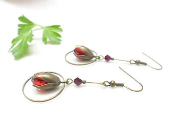 Retro earrings ~'~ Tulip & Ruby ~' ~