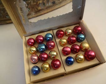 Vintage Mercury Glass Feather Tree Ornaments in Original Box -  Box of 24 - Miniature Ornaments - Cottage Colors