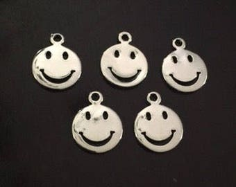 5PC Smiling Face Charm-Emoji Charms- Face Charms-Antique Silver Tone Charm