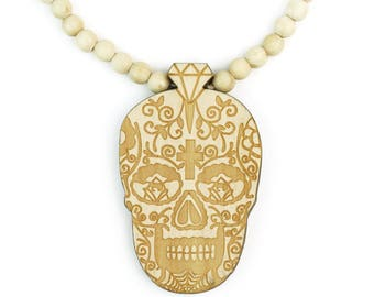 Day of the Dead Skull Charm Wooden Beaded Necklace 35 Inches