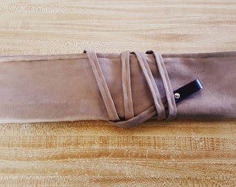 Taupe 5 slot Knife roll, knife case, chef roll personalized with initials made with taupe suede (Handcrafted to order)