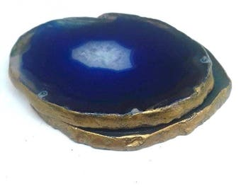 Small Blue Agate Slice Coasters