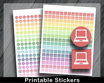 Laptop Planner Stickers, Blog Planner Stickers, Study Planner Stickers, Printable Computer Planner Stickers, Blogging Stickers
