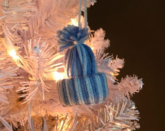Christmas tree ornament, winter hat ornament, blue christmas ornament
