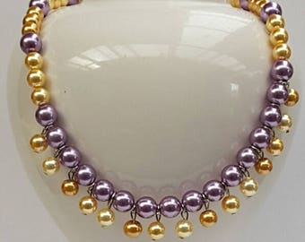 Purple Yellow Pearl Bib Necklace, Pearl Jewelry, Pearl Necklace, Two Tone Necklace, Australian Made, Gift for Her, Statement Necklace