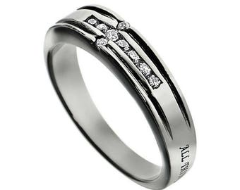 "CZ Cross Ring ""Christ My Strength"""