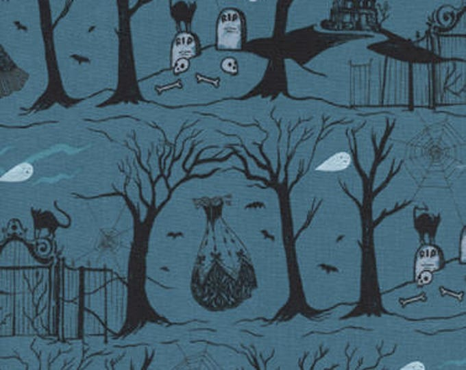 Boo! by Cotton + Steel - Hallow Lane Blue Pearlescent - Cotton Woven Fabric