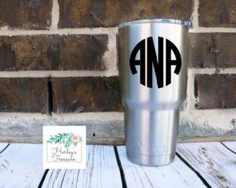 Circle Monogram Vinyl Decal - Monogram Decal - Decal- Monogram Sticker - Laptop decal - Car decal - Yeti Cup Decal Tumbler Personalized