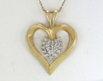 Designer Estate 10K Yellow Gold .02ct Genuine Diamond Heart Pendant 3.1g