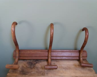 Vintage French Hat/Coat Hanger, rack. Traditional French three pegs wooden coat hanger. Shabby 3 hooks hat rack. French Country Farmhouse