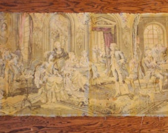 Vintage French Nobility Party Scene Aristocracy Tapestry Wall Hanging Decor