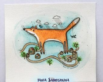 Fox town - original watercolor illustration