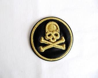 Iron On Paura Skull Patch,3D Gold Skull Emblem,Skull Rigging,Lurex Skull Patch,Round Skull Applique,Heat Transfer Skull,Embroidery Skull