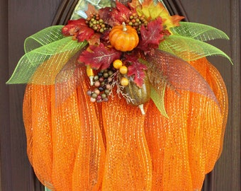 Pumpkin Wreath, Deco Mesh Pumpkin Wreath, Fall Wreath, Autumn Wreath, Halloween Wreath, Deco Mesh Wreath, Mesh Pumpkin Wreath, Orange