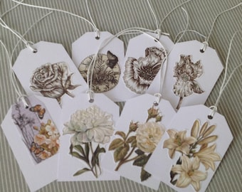 Set of 8 Victorian style with waxed cotton ties and white tag