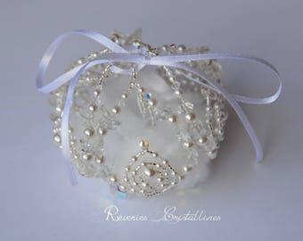 Box wedding pearls and Swarovski crystals - bridal accessory - ring box