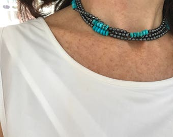Long Wrap Necklace and bracelet with Hematite and Turquoise, Long Beaded Boho Necklace, Handmade Gemstone Wrap Necklace, Gift For Wife
