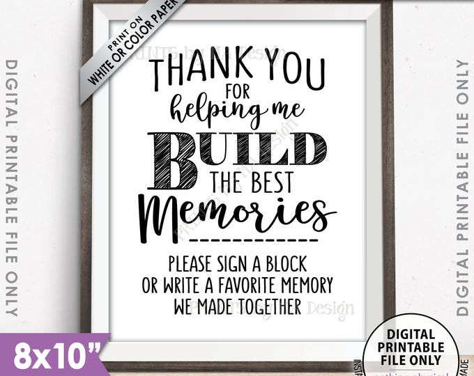 "Sign a Block Sign, Thank You for Helping Me Build Memories, Graduation Party, Retirement Celebration, 8x10"" Printable Instant Download"