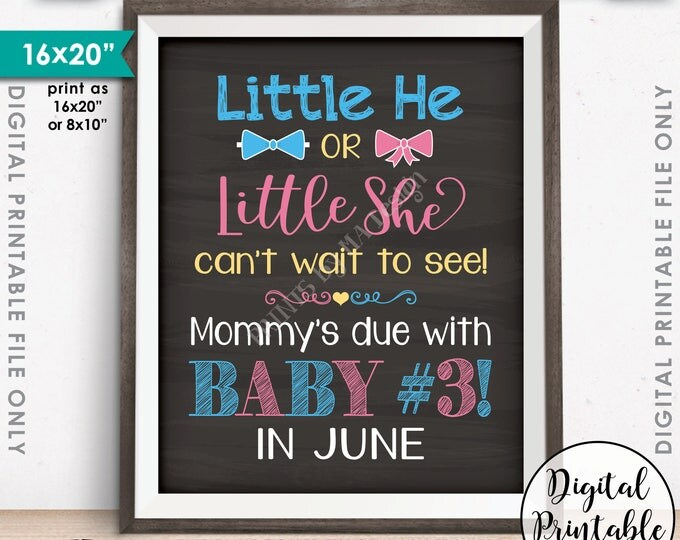 "Baby #3 due in JUNE, Little He or Little She Can't Wait to See Baby #3, Pink or Bue, Chalkboard Style PRINTABLE 8x10/16x20"" Instant Download"