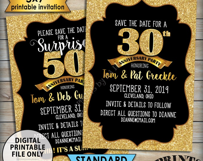 """Gold Anniversary Party Save the Date, Standard or Surprise Black & Gold Glitter PRINTABLE 5x7"""" Invite, 30th 40th 50th 60th 70th Anniversary"""