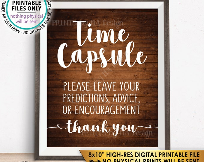 """Time Capsule, Wedding Guest Book Alternative, Baby Shower Time Capsule Sign, Bridal Shower, 8x10"""" Rustic Wood Style Printable Sign <ID>"""