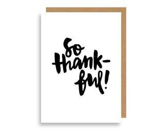 So Thankful Greeting Card by Aina Kawamoto, Recycled Card Stock.