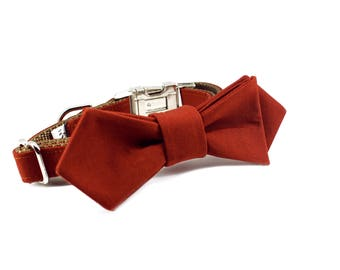Luxury Dog or Cat Bow Tie - The THEO // Contemporary (Rust Red Solid Print)