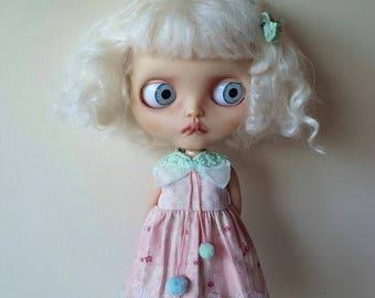 Pastel pom pom sherbet dress set for blythe doll