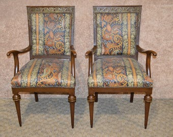 Pair of French Style Chairs w/Brass Ormolu