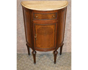 Marble Top Inlaid Demi-Lune Cabinet