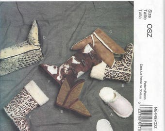 McCall's Fashion Accessories M6449 - Slippers & Booties pattern OOP