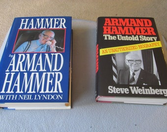 Lot of 2 Armand Hammer Books: Autobiography & Unauthorized Biography 1st Edition
