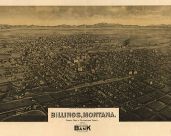 Billings Montana Panoramic map dated 1904. This print is a wonderful wall decoration for Den, Office, Man Cave or any wall.