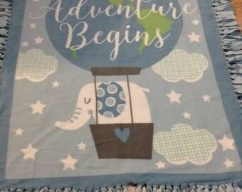 Fleece Blanket - Fleece Baby Blanket for Baby Boy - Tied - Knotted