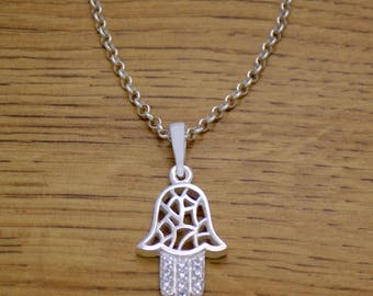 Marvelous Solid 925 Sterling Silver Lucky Hamsa Hand White CZ Pendant Necklace with Chain Awesome Stunning Beautiful Incredible Design