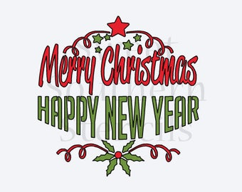Merry Christmas Happy New Year 2 piece Cookie Stencil Set
